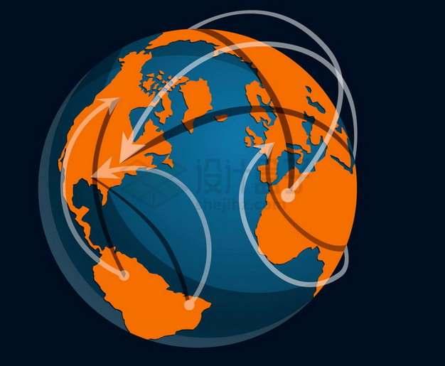 蓝色地球模型橙色大陆上面的白色箭头png图片免抠矢量素材