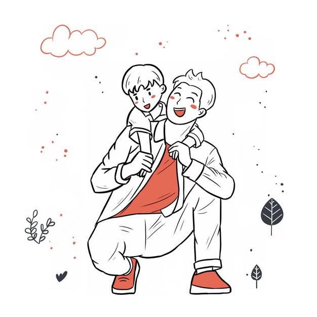 背着儿子的年轻爸爸父亲节插画365275png图片素材