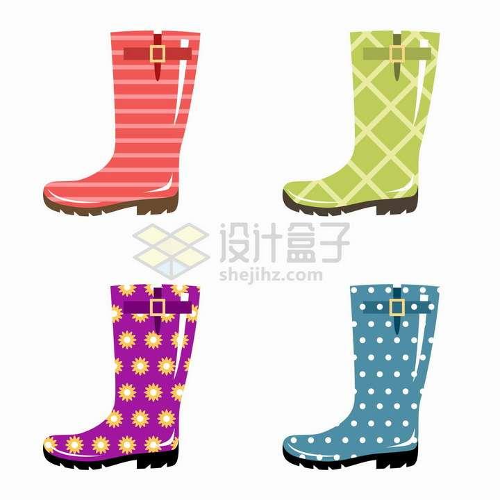 4款斑点线条图案的雨靴雨鞋png图片免抠矢量素材