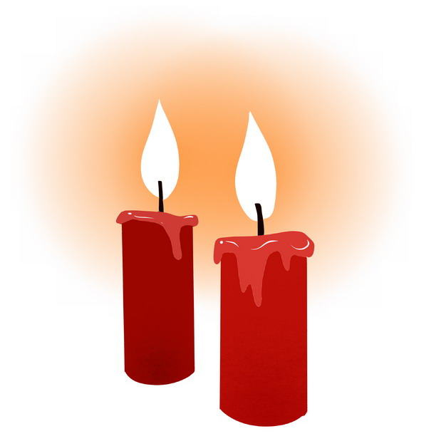 两根燃烧的红色蜡烛4592151png图片素材 生活素材-第1张