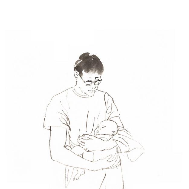 爸爸抱着宝宝素描插画232808png图片素材 人物素材-第1张