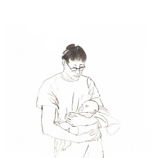 爸爸抱着宝宝素描插画232808png图片素材