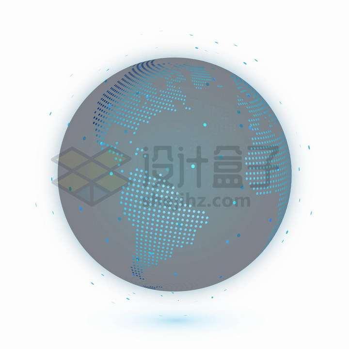 科技风格蓝色圆点组成的地球模型可以看到美洲大陆和大西洋png图片免抠矢量素材