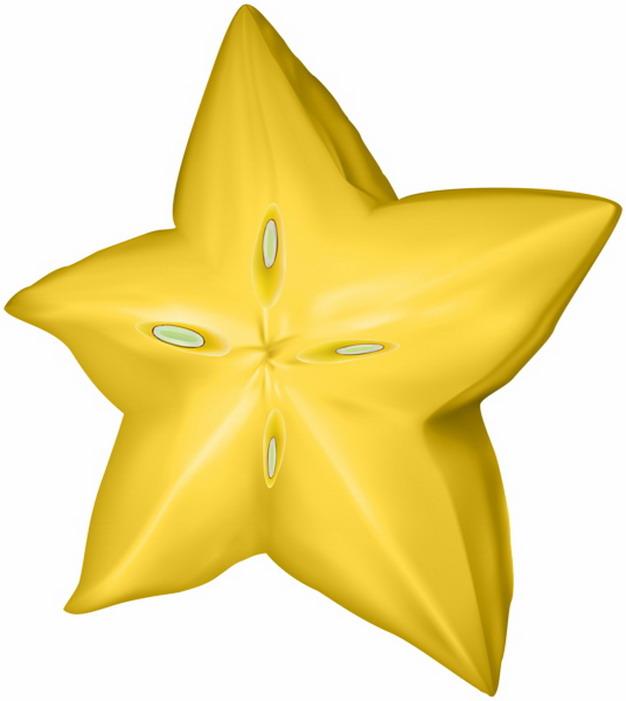 彩绘风格切开的杨桃横切面五角星5107853png图片素材 生活素材-第1张
