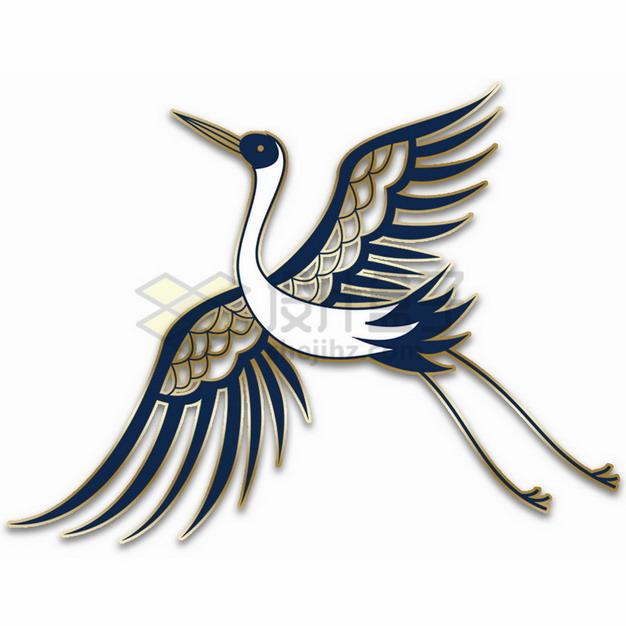 复古蓝色金色线条仙鹤插画png免抠图片素材 生物自然-第1张