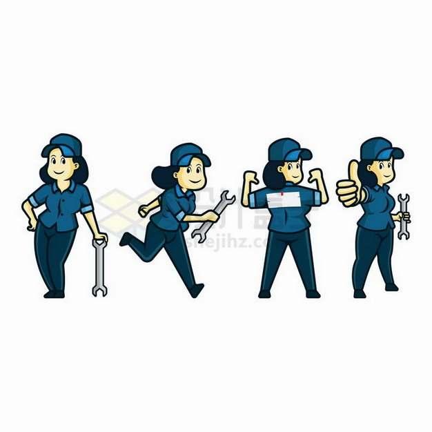 4款拿着扳手的卡通女性维修工人png图片免抠矢量素材