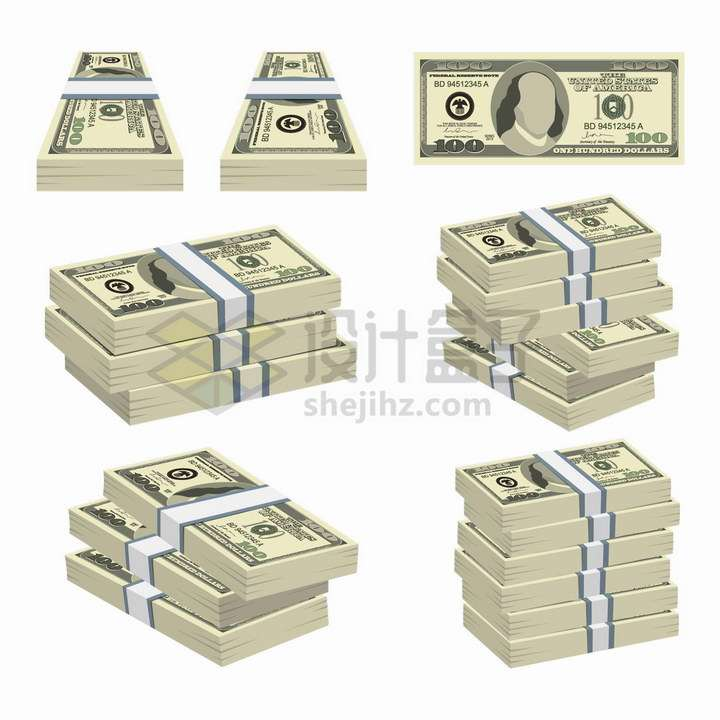 各种一叠一叠的美元钞票png图片免抠矢量素材