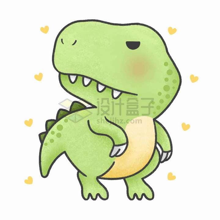 简约可爱卡通绿色恐龙png图片免抠矢量素材