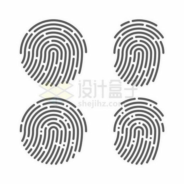 4款指纹图案指纹识别技术png图片免抠矢量素材 IT科技-第1张