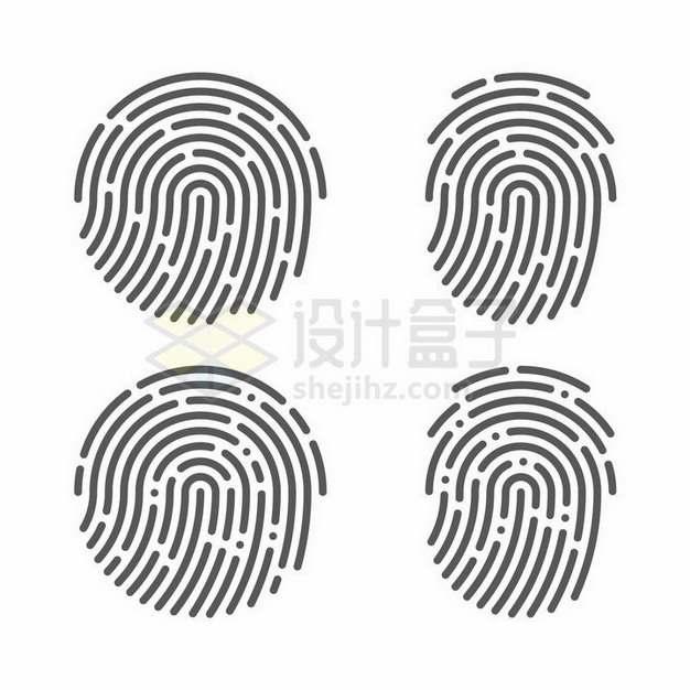 4款指纹图案指纹识别技术png图片免抠矢量素材