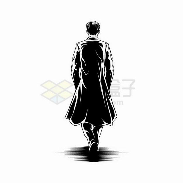 素描手绘双手插在裤兜中的披风男人背影剪影png图片免抠矢量素材 人物素材-第1张