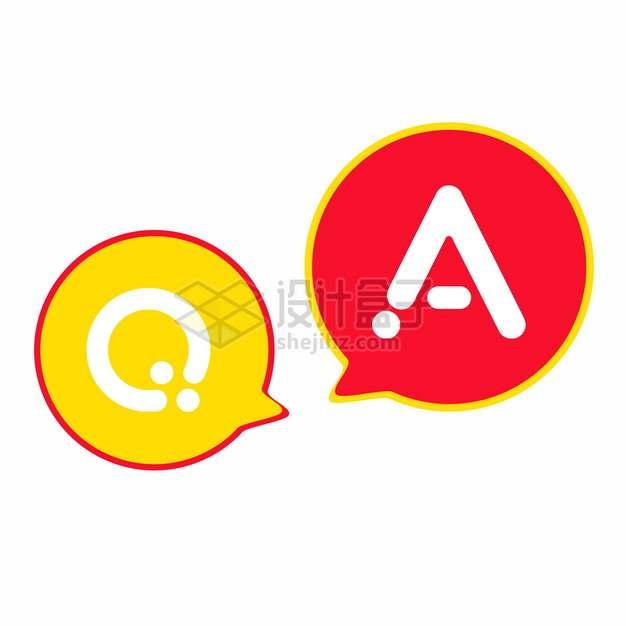 红黄色对话框问答图标符号621486png图片素材