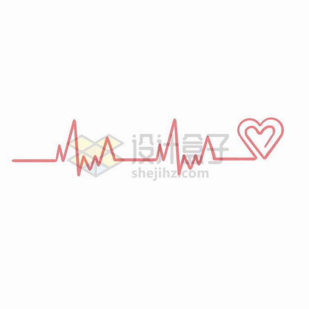 粉红色心电图组成的爱心图案png免抠图片素材 线条形状-第1张