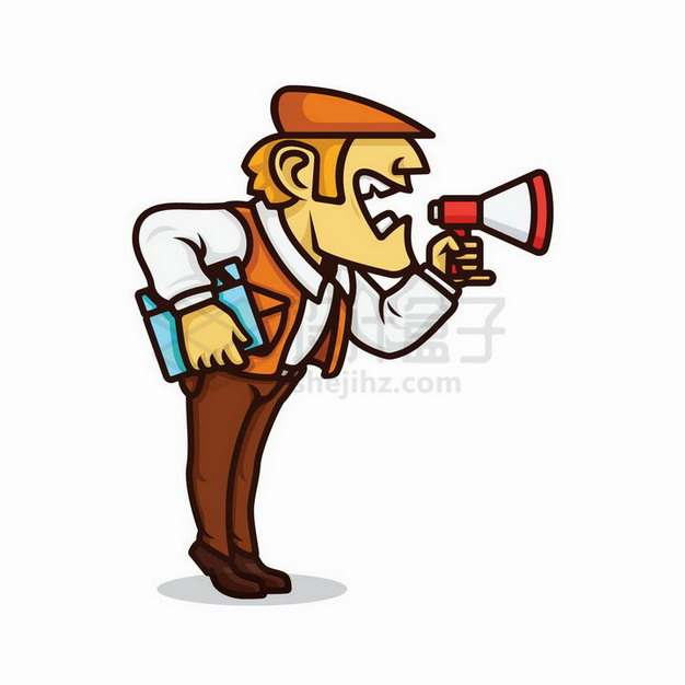 卡通电影导演拿着喇叭大声喊叫png图片免抠矢量素材