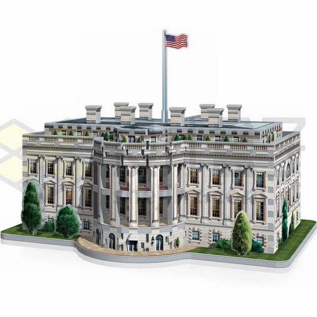3D立体风格美国白宫建筑png图片素材