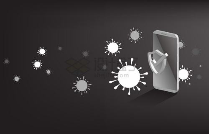 2.5D风格手机和病毒象征了手机安全网络安全png图片免抠矢量素材