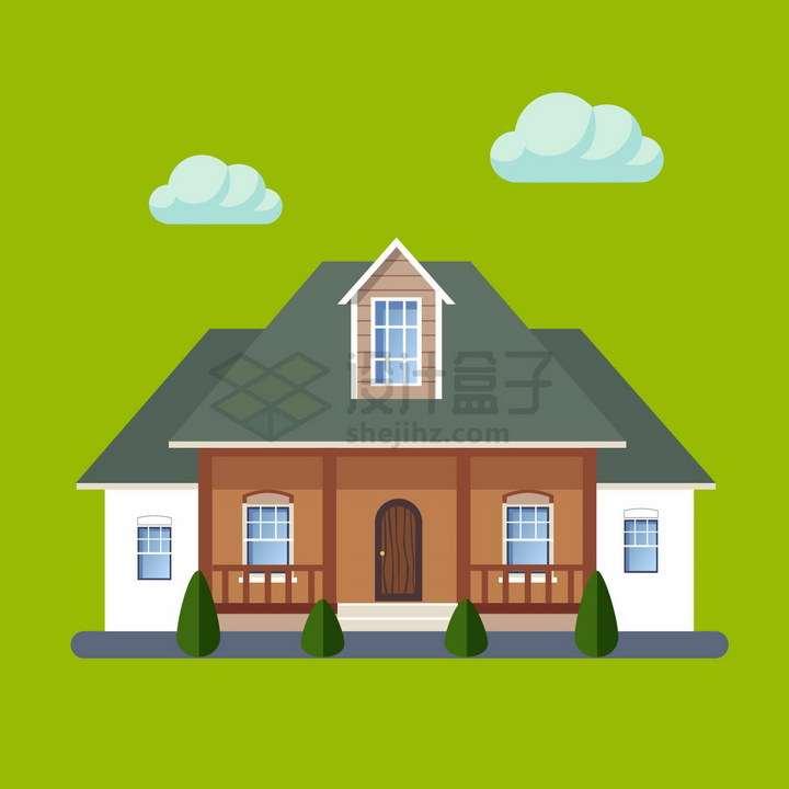带阁楼的小别墅扁平化房子png图片免抠矢量素材