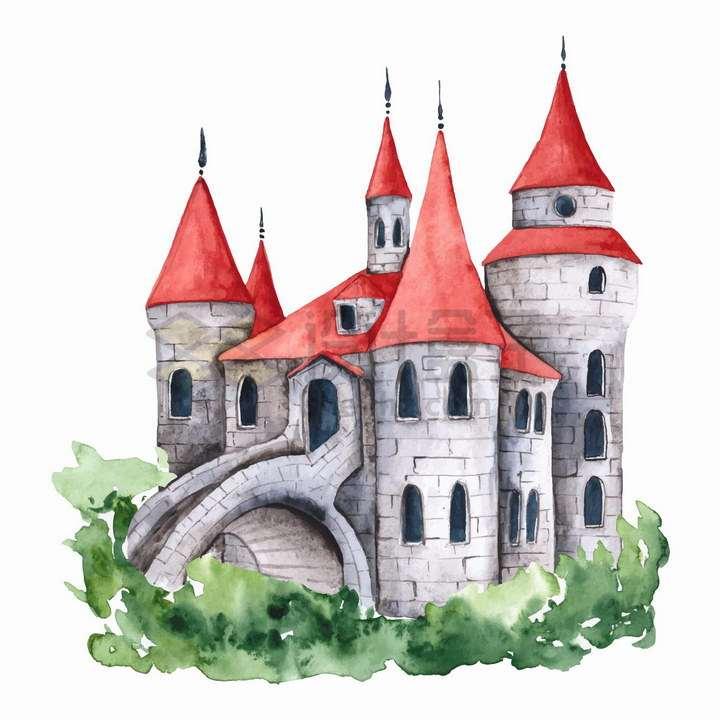 彩绘风格红顶的童话城堡png图片免抠矢量素材