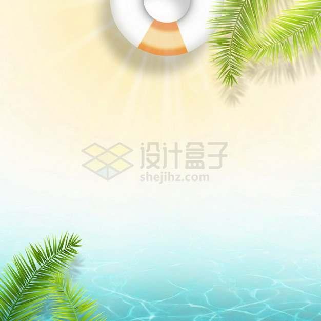 夏天的热带椰树叶和蓝色水面效果146576png图片素材