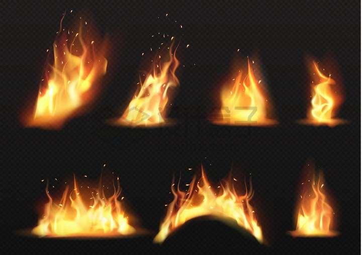 7款熊熊大火燃烧着的火焰png图片免抠矢量素材