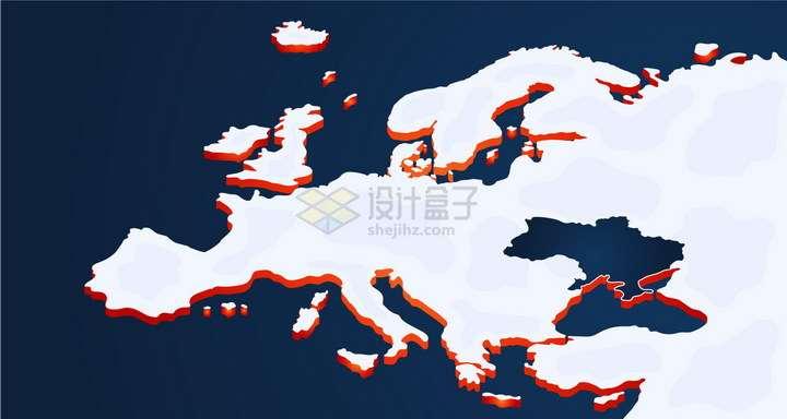 红色阴影立体风格欧洲地图png图片免抠矢量素材
