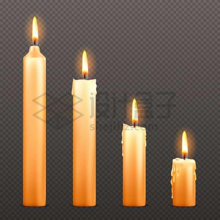 不同长度的燃烧着的黄色蜡烛png图片免抠矢量素材