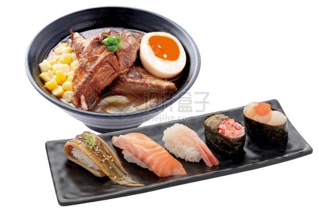 猪排汤和各种刺身寿司日式料理png图片素材