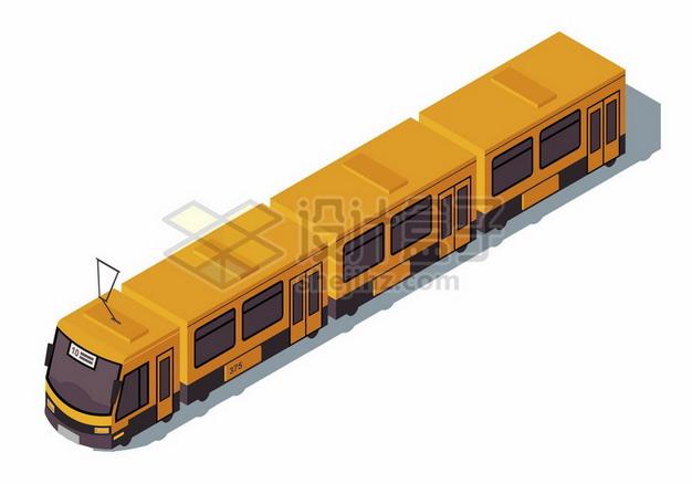 黄色的地铁列车有轨电车png图片素材 交通运输-第1张