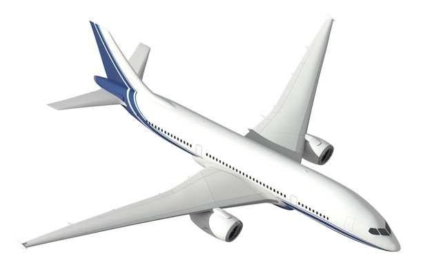 蓝白涂装的空客A320大中型客机飞机俯视图png免抠图片素材