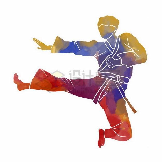 练武术跆拳道彩色涂鸦317649png免抠图片素材 人物素材-第1张