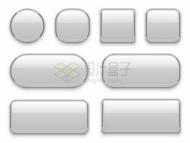 8款不同形状的玻璃面板按钮效果png图片免抠矢量素材 按钮元素-第1张