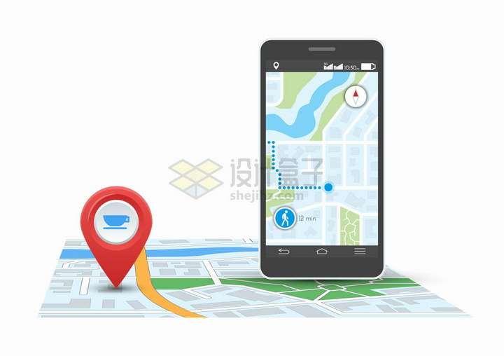 手机导航地图和定位标志png图片免抠矢量素材