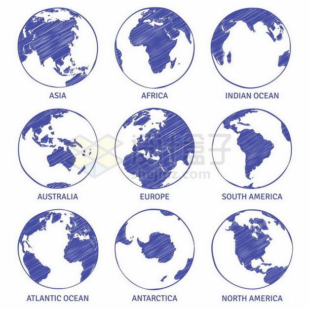 蓝色素描地球世界七大洲地图png图片免抠矢量素材 科学地理-第1张