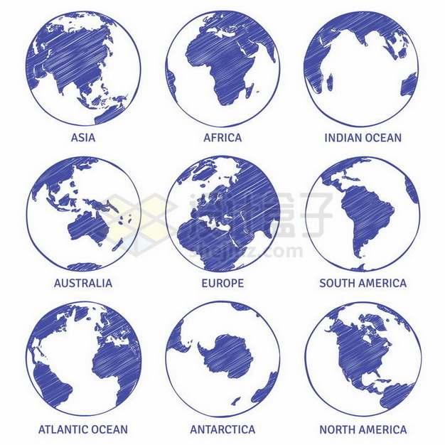 蓝色素描地球世界七大洲地图png图片免抠矢量素材