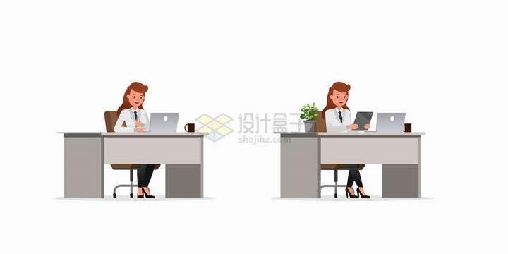 两个坐在办公桌前使用笔记本电脑和平板电脑的职场人士png图片免抠矢量素材