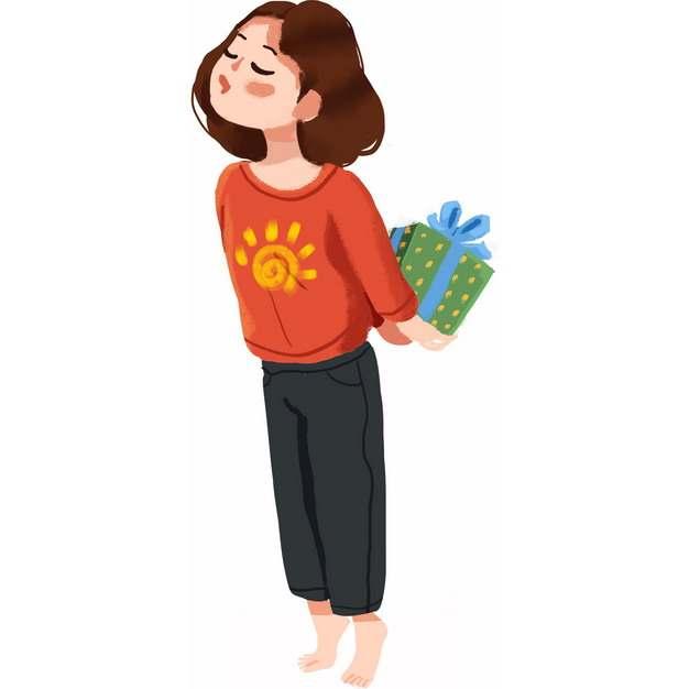 卡通女孩背后偷偷藏着礼物彩绘插画489494png图片素材