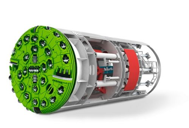 3D立体挖掘隧道的盾构机结构图png图片素材