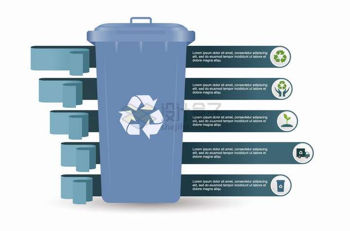 垃圾桶垃圾分类手抄报PPT数据图表png图片免抠矢量素材