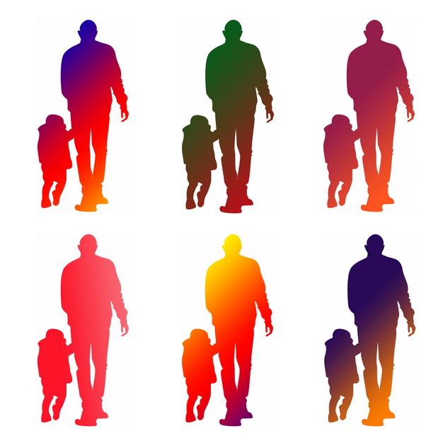 6款渐变色牵手的父子亲子背景父亲节剪影680178png图片素材 人物素材-第1张