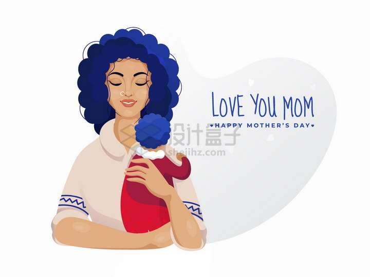 母亲节抱着孩子的妈妈手绘插画png图片免抠矢量素材
