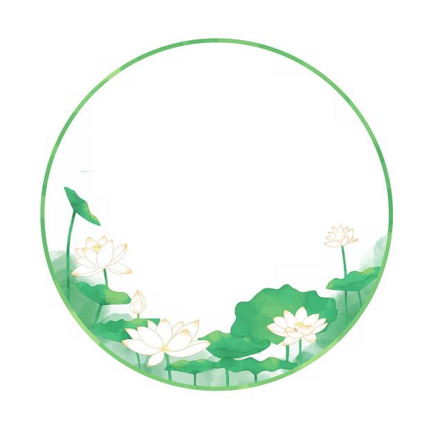夏至节气荷花荷叶圆形中国风绿色边框420064png图片素材 边框纹理-第1张