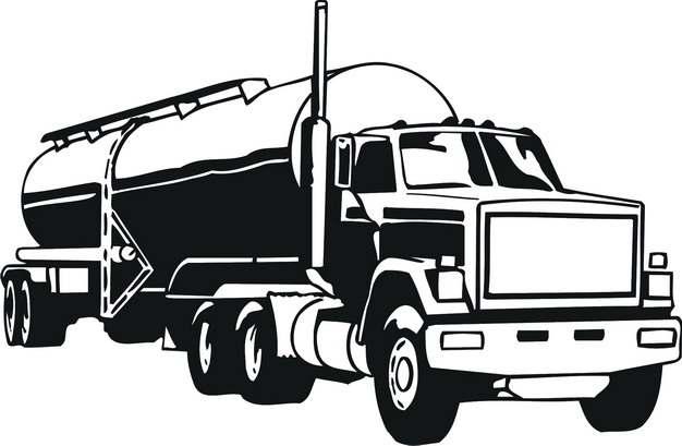 黑色手绘风格槽罐车油罐车危险品运输卡车特种运输车934921png图片素材