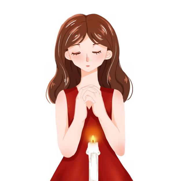 卡通女孩在蜡烛面前许愿8485722png图片素材