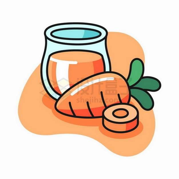 卡通胡萝卜和胡萝卜汁美味蔬菜png图片免抠矢量素材