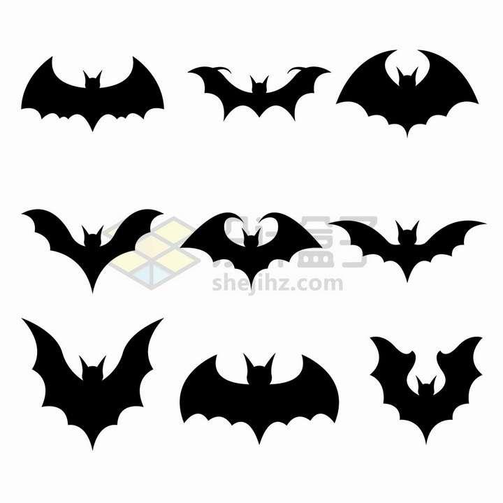9款黑色蝙蝠标志图案png图片免抠矢量素材