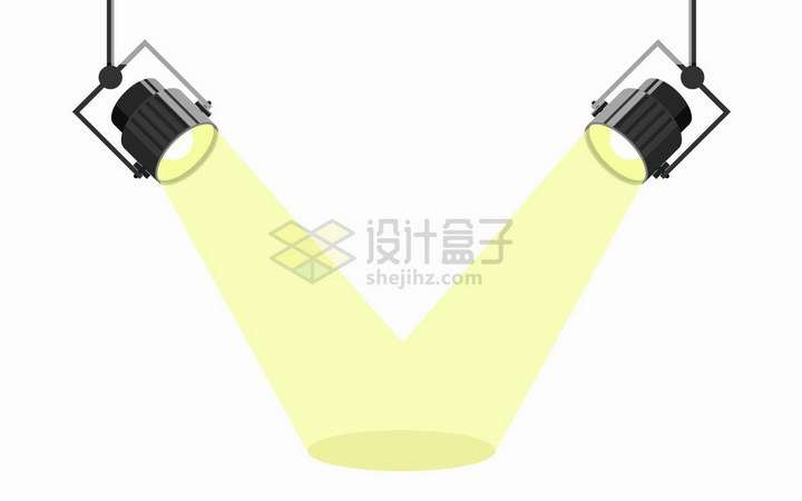 两个聚光灯探照灯舞台灯照射的黄色光芒png图片免抠矢量素材