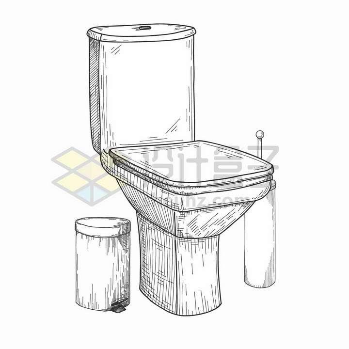 手绘素描风格厕所卫生间抽水马桶和垃圾桶png图片免抠矢量素材