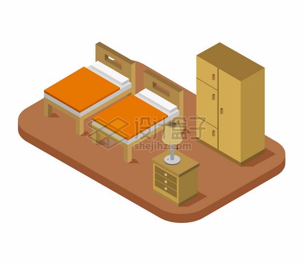 2.5D风格两张床和床头柜衣柜等卧室装修349308png图片矢量图素材 建筑装修-第1张