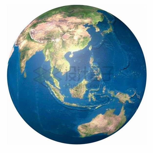 高清地球地形图定位在东南亚png免抠图片素材