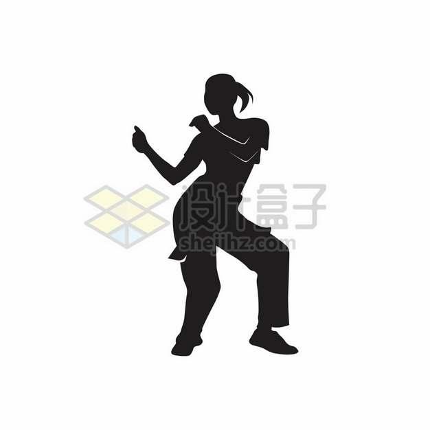 跳舞的女孩剪影505240png图片素材